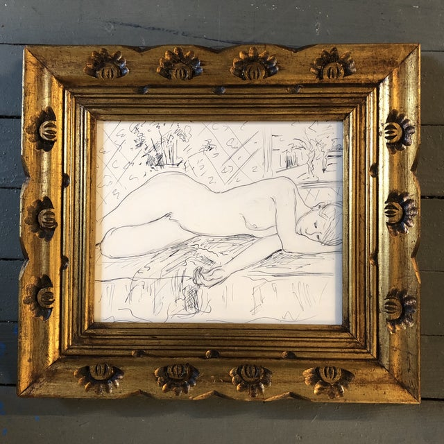 1960s Original Vintage Female Nude Ink Drawing/Interior Study For Sale - Image 5 of 5