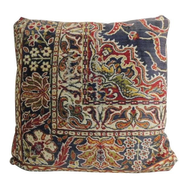 Vintage Large Cotton Velvet Floral Turkish Floor Pillow For Sale