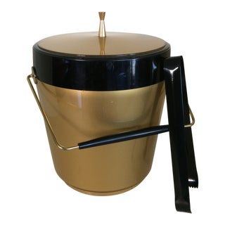 Vintage Gold and Black West Bend Thermo-Serve Ice Bucket With Ice Tongs For Sale