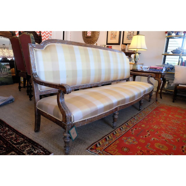 This piece came from a private home in Saratoga Springs. Some stains on the silk upholstery. Would be fantastic in a large...