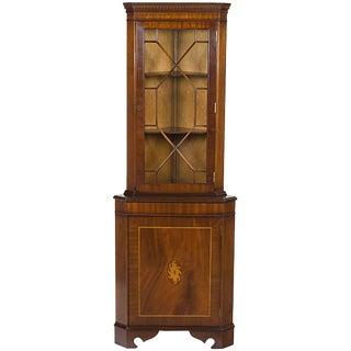1960s Georgian Mahogany Inlaid Single Door Corner Cabinet Cupboard For Sale