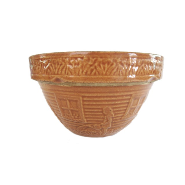 Cottage Vintage Little Gardening Girl Brown Glazed Stoneware Pottery Mixing Bowl For Sale - Image 3 of 5