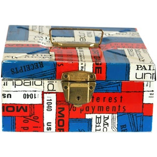 Red, White & Blue Vintage Metal Document Box