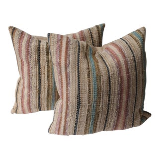 19th Century Country Rag Rug Pillows or Pair For Sale