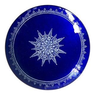 1960s Austrian Deep Blue Enamel Dish With Floral Motif For Sale