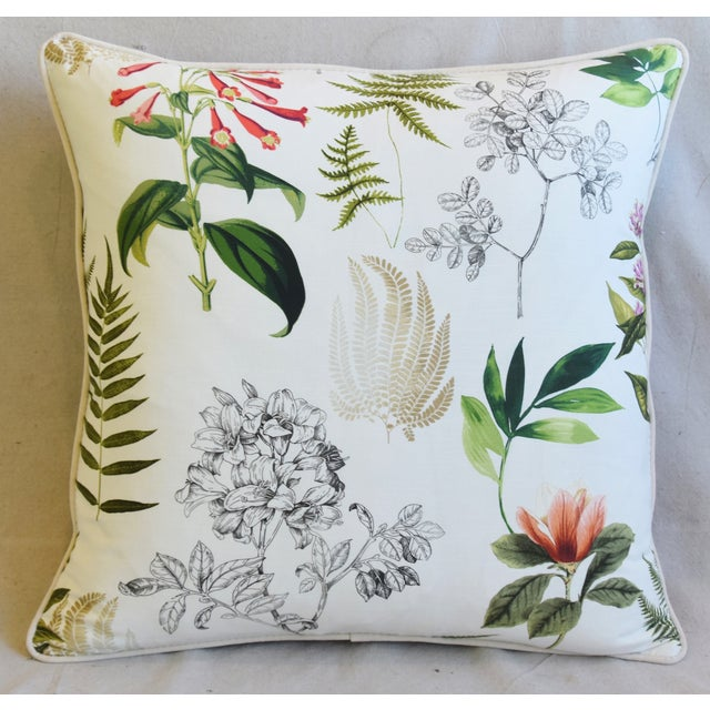 Custom-tailored pillow in a cotton & linen bended fabric depicting a botanical floral and fern design. Bone-white cotton...