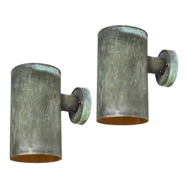1950s Hans-Agne Jakobsson Cylindrical Outdoor Sconces - a Pair For Sale