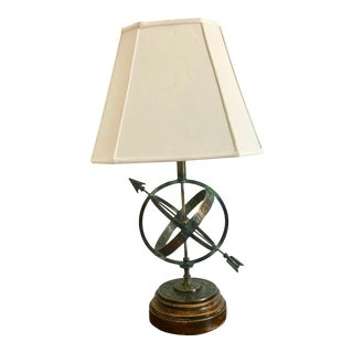Frederick Cooper Astrolabe Zodiac Armillary Table Lamp With Shade For Sale