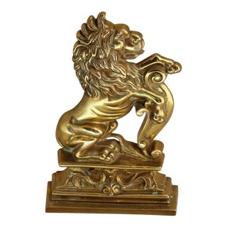 Late 19th Century Brass Lion Door Stop For Sale