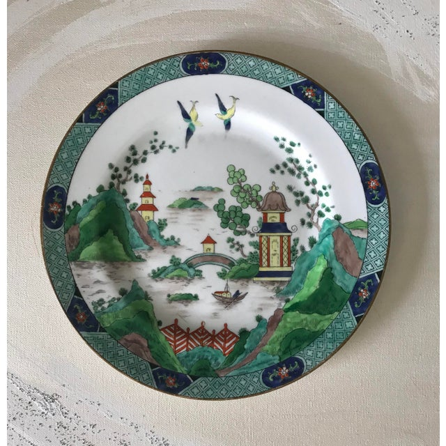 Rare Crown Staffordshire Handpainted Chinoiserie Multicolor Plate For Sale In San Diego - Image 6 of 6