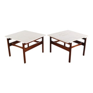 Pair of Jens Risom Walnut End Tables With Travertine Tops For Sale