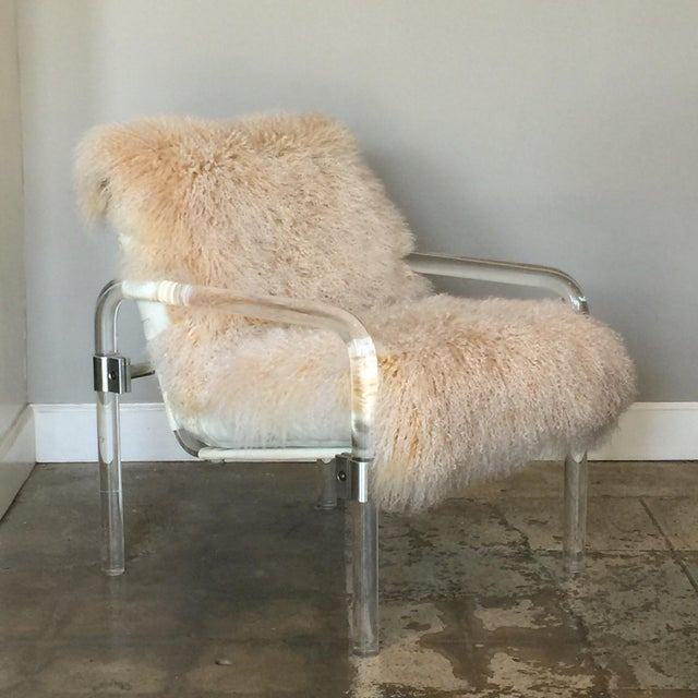Welcoming Mongolian Lamb Lucite Armchair For Sale - Image 10 of 10