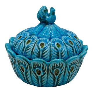 Vintage Italian Turquoise Blue Ceramic Peacock Dish For Sale