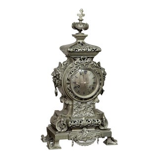 19th Century Antique Bronze Renaissance Mantel Clock For Sale