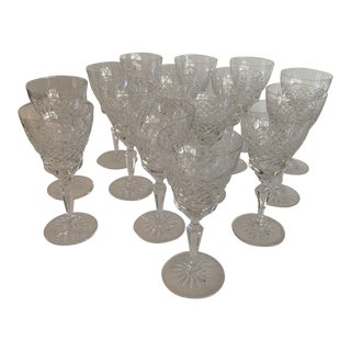 1940s Waterford Wine Glasses - Set of 15 For Sale