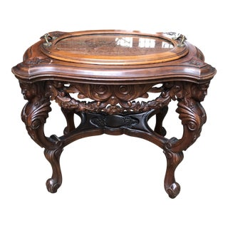 Hand Carved Occasional Table Removable Serving Tray
