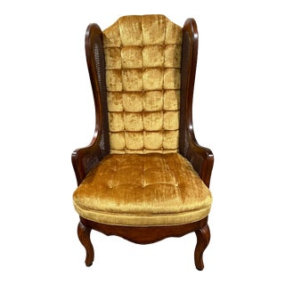 Mid 20th Century Lewittes Tufted Gold Velvet Cane Wingback Chair For Sale