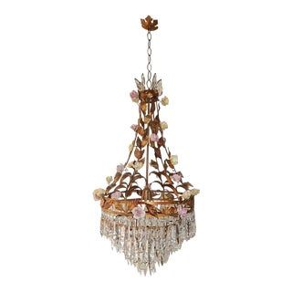 Huge Tole Porcelain Roses and Crystal Prisms Chandelier For Sale