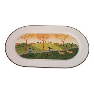 Vintage Villeroy and Boch Porcelain Hand Painted Oval Platter For Sale