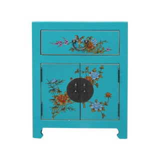 Chinese Turquoise Aqua Graphic Vinyl Moon Face End Table Nightstand For Sale