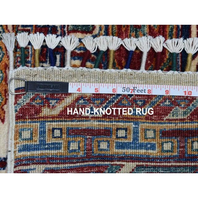 Khorjin Design Runner Blue Kazak Tribal Pure Wool Hand Knotted For Sale In New York - Image 6 of 7