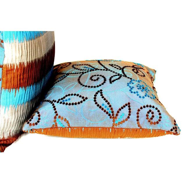 Vintage Floral Handwoven Varanasi Brocade Reversible Pillow For Sale - Image 4 of 13