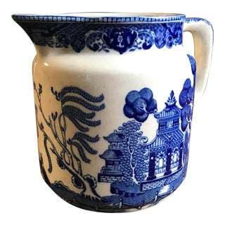 Antique 1910 Buffalo Pottery Blue Willow Pitcher Semi-Vitreous For Sale