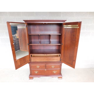 Pennsylvania House Cherry Chippendale Style Linen Press Armoire Cabinet Preview
