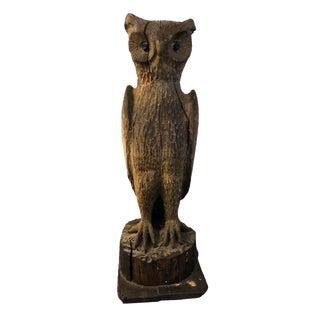 1900s Vintage Folk Art Carved Owl Figure For Sale