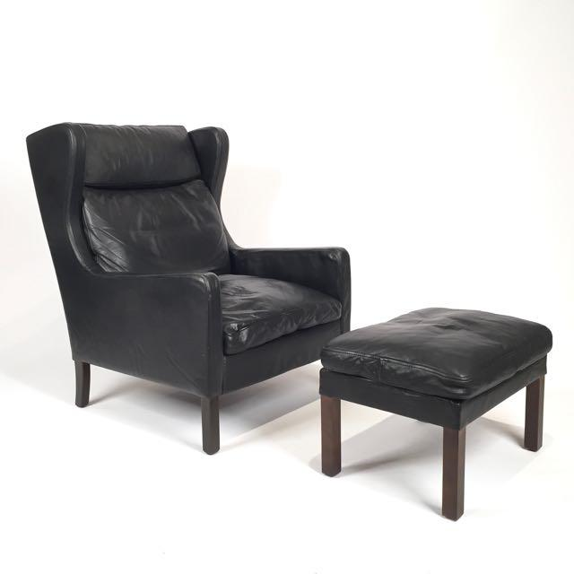 Vintage Danish Black Leather High Back Chair & Ottoman For Sale - Image 5 of 5