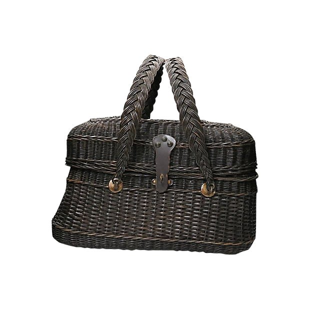 Antique French Covered Basket For Sale