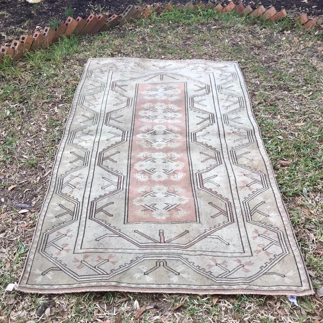 1970s Turkish Hand Knotted Milas Area Rug For Sale - Image 5 of 5
