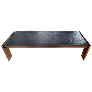Mid-Century Modern Slate and Walnut Brutalist Coffee Table by Adrian Pearsall For Sale