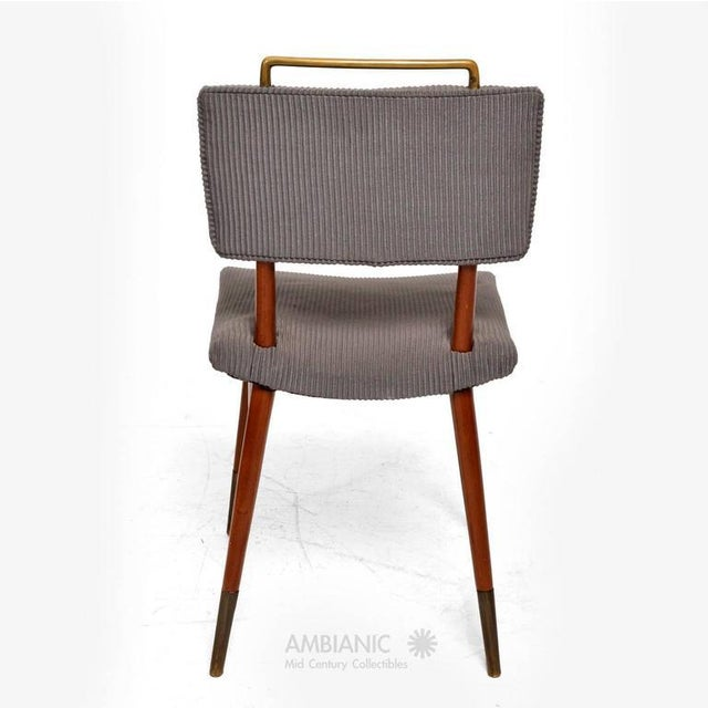 Gray Set of 15 Mid-Century Modern Mahogany & Brass Dining Chairs For Sale - Image 8 of 10