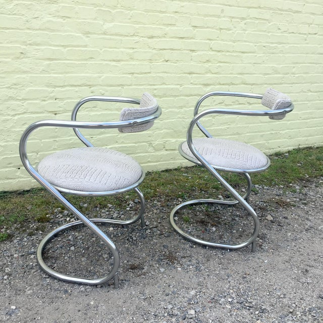 Thonet Pair of Thonet Style Faux Snake Skin & Chrome Cantilever Chairs For Sale - Image 4 of 13