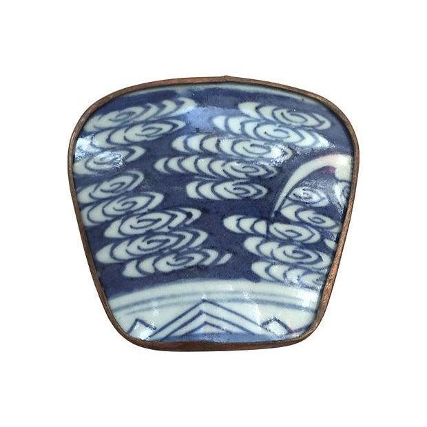 Asian Blue & White Porcelain Silver Metal Trinket Box For Sale