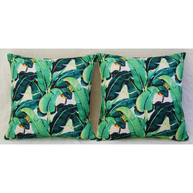 Dorothy Draper-Style Banana Leaf Pillows - a Pair For Sale - Image 4 of 6