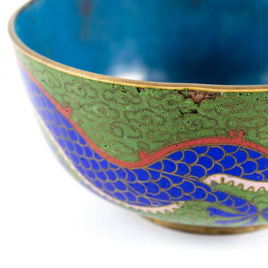 19th Century Antique Chinese Cloisonne Dragon Bowl For Sale - Image 10 of 11