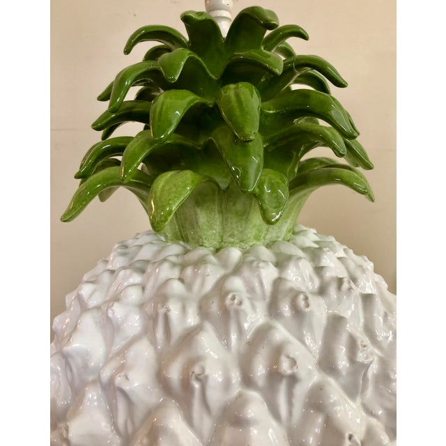 Green Mid Century Italian Majolica Pineapple Table Lamp For Sale - Image 8 of 11