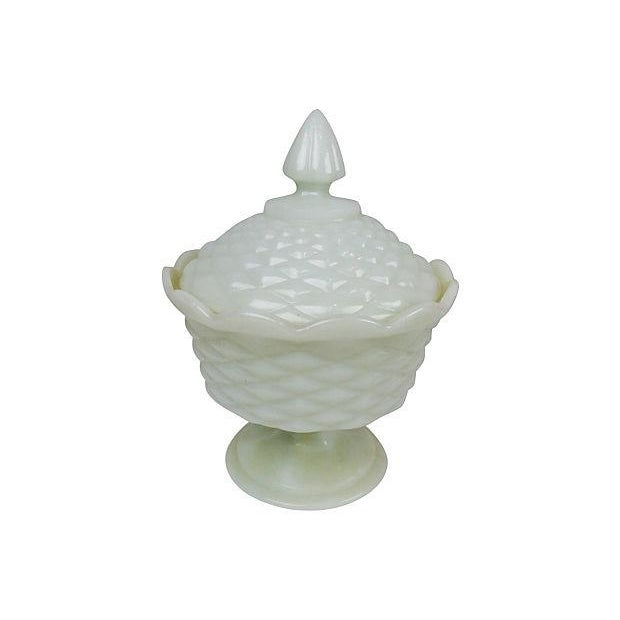 Scalloped edge large milk glass diamond pattern candy dish with lid. No maker's mark.
