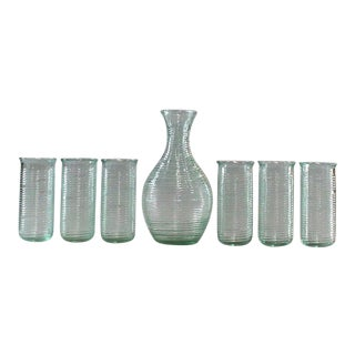 Modern Italian Venician Green Glass Decanter and Glasses - Set of 7 For Sale