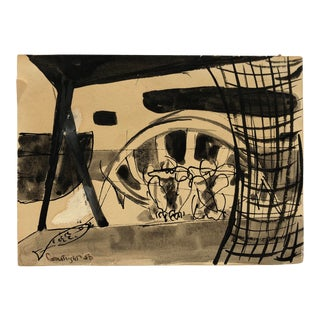 Mid-Century Modern Scene by Robert Courtright, 1950 For Sale