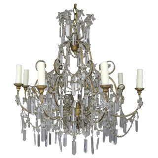 Eight Light Chrystal Beaded Chandelier With Flowers C. 1930's For Sale