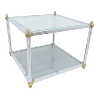 1970s Maison Jansen Style Dia Chrome, Brass and Glass Side or Coffee Table For Sale