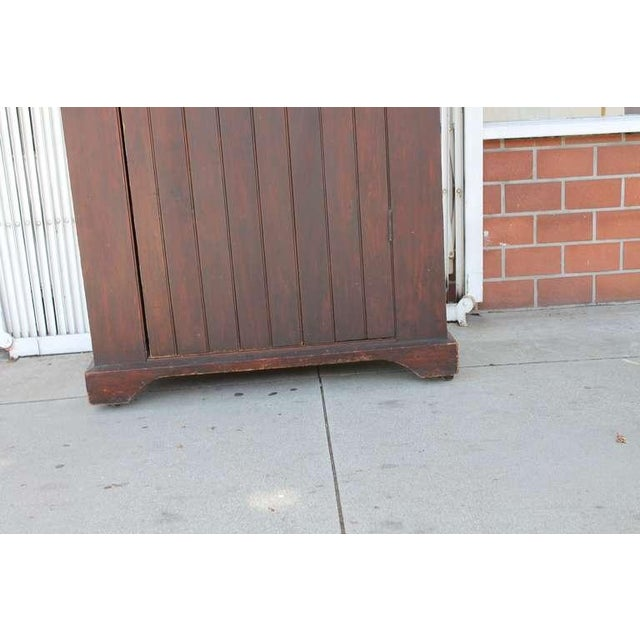 Original Brown Painted 19th Century Pennsylvania Wall Cupboard For Sale - Image 9 of 9