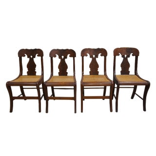 Mid 19th Century Antique Crotch Walnut Federal Empire Cane Seat Dining Side Chairs- Set of 4 For Sale