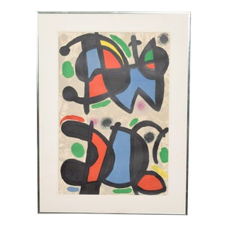 Joan Miro Lithograph on Paper, Aluminum Frame Spain For Sale
