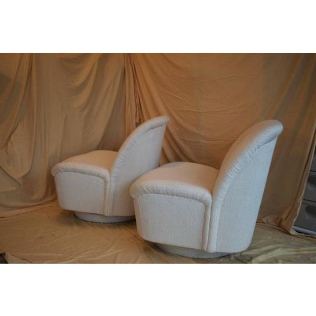 Vintage Directional White Swivel Chairs - a Pair - Image 2 of 6