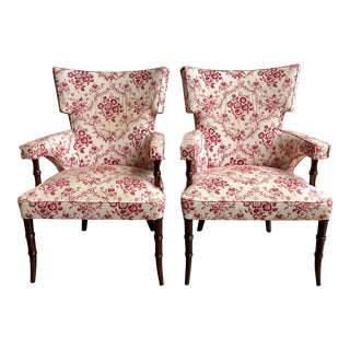 Late 20th Century Vintage Faux Bamboo Regency Style Klismos Arm Chairs - Pair For Sale