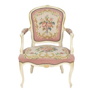French Pink Floral Louis XV-Style Needle Point Chair For Sale